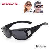 Óculos de sol excedentes grandes dos vidros protetores à moda pretos do olho para o Myopia usado pescando óculos de sol