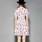 Платье партии женщин короткой втулки флористическое напечатанное сладостное Silk