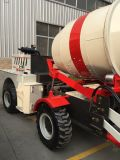 Carro de mezcla concreto de la operación experimental con 100 grados de rotación