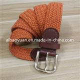 オレンジカラー金のバックル編みこみの伸縮性があるストラップベルト