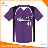 Healongの熱い販売の昇華印刷の野球はワイシャツにボタンをかける