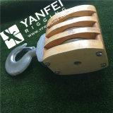 Tipo 200 mm JIS Barco de madera del bloque de polea triple con gancho