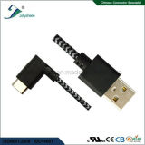 Tipo C3.1 de 90 graus ao cabo móvel do USB 2.0 a/M com cabeça de Matel e a trança coloridas Ce&RoHS