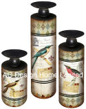 木S/3ばねの鳥デザイン型の骨董品MDFか金属のペーパーステッカーシリンダー円形の蝋燭ホールダー