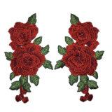 Patch de flor bordado 3D de alta qualidade para vestuário de moda