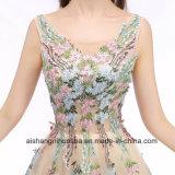 Spitze-Stickerei-lange Abend-Kleid-elegante Sleeveless Abschlussball-Partei-Kleider
