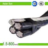 aluminium de la basse tension 0.6/1kv 2/3/4 câble aérien supplémentaire de paquet de câble d'ABC de faisceaux