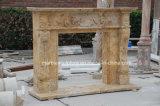 Camino beige Sy-306 del marmo del travertino intagliato mano