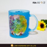 taza de cristal coloreada 330ml de la taza de café con la maneta