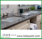 霧深い灰色の水晶石のPefabの積層の台所島のカウンタートップ