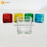 Piezas centrales de cristal cuadradas de la boda del sostenedor de vela de la alta calidad