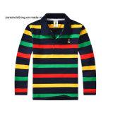 多彩なしまのある折りえりの子供のポロのTシャツ
