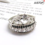 Diamante blanco de la corona cristalina negra que empila el anillo en la plata plateada