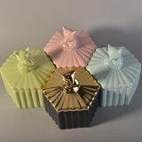 Contenitori di ceramica della candela lustrati perla sveglia con il coperchio a forma di dell'animale