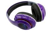 Receptor de cabeza de Bluetooth con los auriculares sin hilos del receptor de cabeza FM de Bluetooth de la tarjeta del TF y atados con alambre de radio