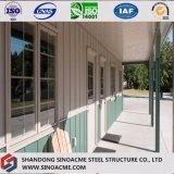 Almacén prefabricado del marco de acero con el pabellón y la hoja del color