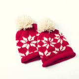 Связанный рукой шлем зимы лыжи Beanie снежинки