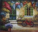 Handmade Vintage couleurs Peintures d'huile du paysage avec petit vélo pour la décoration d'accueil