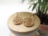 Fisch-Haken-weiße Diamantzircon-Stein-Ohrringe im Kupfer mit dem realen Gold überzogen