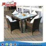 Pátio para refeições de vime profissional Conjunto de 4 cadeiras de mesa e 6 cadeiras