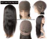 똑바로 행복 머리 360 레이스 흑인 여성을%s 정면 가발 브라질 사람의 모발 가발