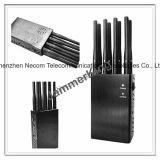 De mano de la señal 4G Móvil Jammer portátil/ 8 bandas para /3G/4G teléfono móvil, WiFi, GPS, sistema Lojack Jammer