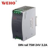 Bloc d'alimentation de commutateur du longeron 24V 3.2A 75W 3A de la sortie d'usine Is09001 DIN