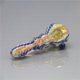 Tubo de cristal de la cuchara del tubo de agua del tubo de la raya del tabaco del tubo de cristal colorido de cristal de cristal de la mano