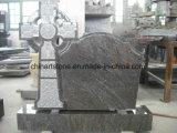 Cemetryのための中国の花こう岩記念碑(十字および葉の上で)
