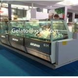 백색 똑바른 유리제 아이스크림 진열장 또는 케이크 냉장고