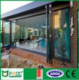 Porte de pliage en aluminium de profil de prix usine avec la glace Tempered