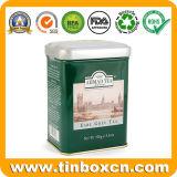 Barattolo di latta grigio del tè del conte classico rettangolare per l'imballaggio del tè