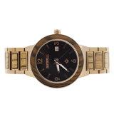 acero inoxidable del chapado en oro del IP 3ATM con el reloj de lujo del reloj de madera del cuarzo de la cebra para los hombres