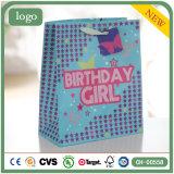 Sacs en papier bleus de cadeau de supermarché de souvenir de mode de vêtement d'anniversaire
