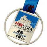 Kundenspezifische halbe Marathon-Sport-EBB-Goldmedaillon-Medaille mit Farbbändern