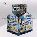 Soporte caliente de la cartulina del suelo de cuatro ventas de los neumáticos para la promoción de los juguetes de las muchachas