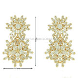 Joyería de cobre amarillo plateada pendientes hermosos del diseño del copo de nieve (KE3161)