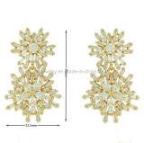 Hermoso diseño de copo de nieve de latón chapado en Aretes joyas (KE3161)