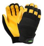 Мягкий и дышащий механическая безопасность рабочие перчатки с упора для рук из натуральной кожи из козьего молока