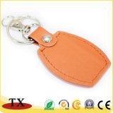 주문 색깔과 로고 주황색 PU 가죽 열쇠 고리
