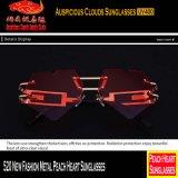 520 óculos de sol novos do coração do pêssego do metal da forma