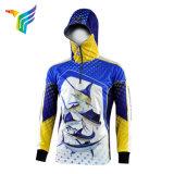 Antisonnenschein-kundenspezifische schnelle trocknen Polyester-langes Hülsen-Fischen-Hemd 100%