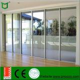 Portello scorrevole di alluminio di prezzi di fabbrica con vetro Tempered