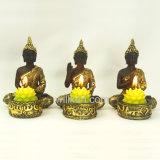 Neue Harz-Goldfarben-kleiner Buddha-Statue-Kerze-Halter