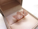 Fabulous Custom larva rose gold Plating Rhinestone Inlay Swan of ring