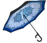 Cのハンドルが付いている逆にされた傘の二重層の逆の雨の明るい傘