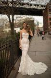 Без бретелек платье венчания Mermaid шнурка