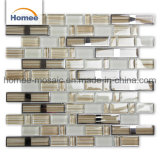 Décoration murale Strip forme Foshan Solid Color marron clair en mosaïque de verre en cristal