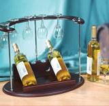 Estante colgante de la taza del vino del sostenedor de botella de vino hecho de la madera