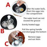 Cazadores furtivos de huevo, tres huevos de acero inoxidable rejilla olla de cocina de caza furtiva de la cesta de vapor para cocinar huevos Cocina Esg10537